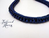 Deep Blue Herring Bone Stich Bracelet