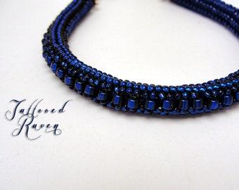 Deep Blue Herring Bone Stich Bracelet