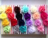 Petite Chiffon Flower Headband or Hair Clip + Shabby Chic + Small Floral Rose  + Newborn Baby Girl Toddler + Teen Hair + Silver Bobby Pin