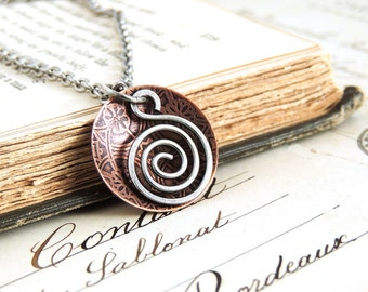 Spiral Pendant Necklace, Copper and Sterling Silver, Etched Domed Disc, Mixed Metal, Gift for Her