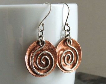 Spiral Earrings - Mixed Metal Jewelry - Copper Domed Discs - Sterling Silver Spirals - Everyday Earrings