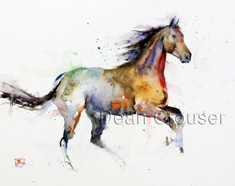 HORSE Watercolor Art Print, Horse Painting, Horse Art,  by Dean Crouser