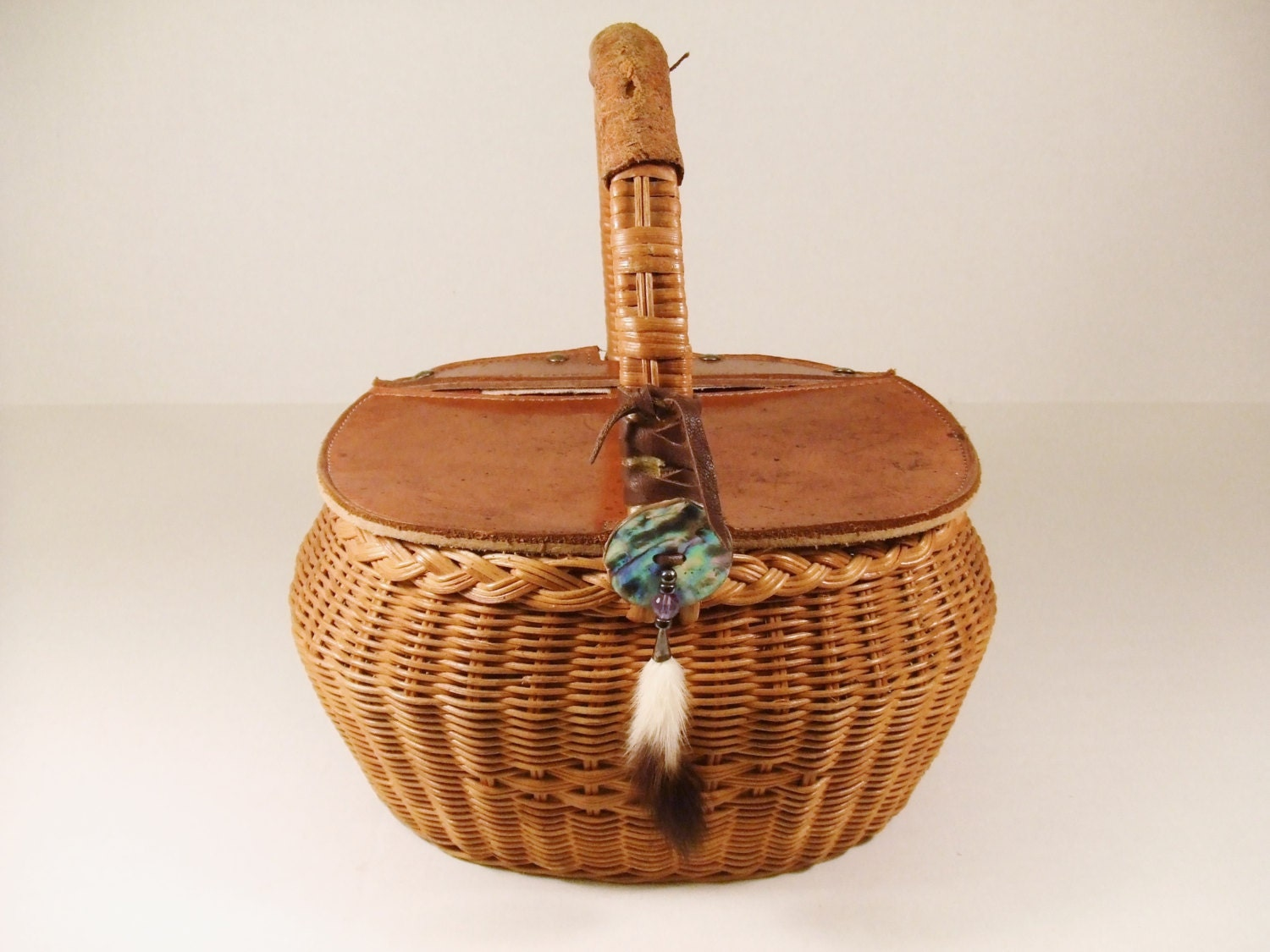 Woven Basket With Hinged Lid : Basket vintage leather woven hinged lid fur storage sewing