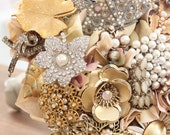 Pearl Bouquet - Ivory Neutral Gold Silver Metallic Classic Timeless - Brooch Bouquet - Custom Medium Modern Domed Jewelry Bouquet