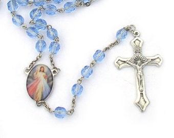 Divine Mercy Catholic Rosary Beads Blue