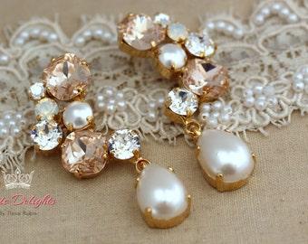 Pink Blush champagne pearl Chandelier earrings, Swarovki Statement earrings, Estate rhinestone earrings, Bridal earrings -  14 K Gold Plated