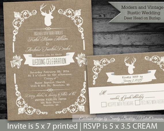 Deer Wedding Invitations: Printable Rustic Deer Wedding Invitations Deer By