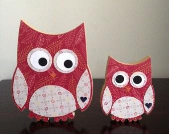 Wooden owls cute Mum & Baby Set - red woodland animal nursery decoration