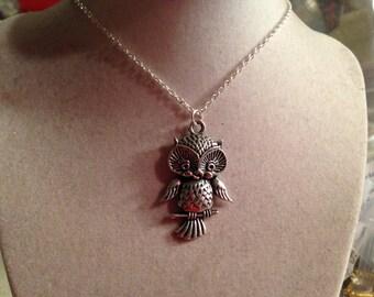 Owl Necklace - Owl Jewelry - Silver Jewelry - Pendant Jewellery - Chain - Fashion - Bird