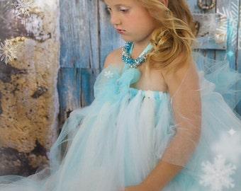 Disney Frozen Queen Elsa Inspired Tutu Dress - Flowergirl Frozen Princess Inspired Tutu Dress