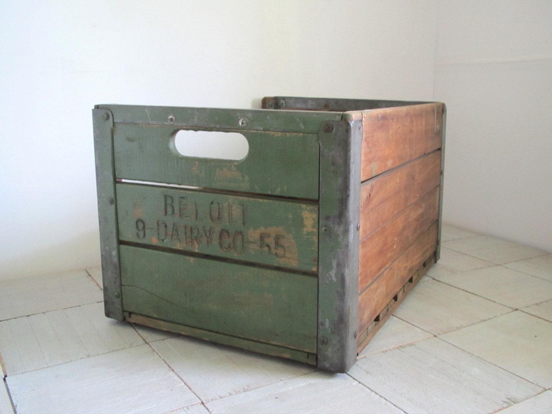 vintage wood milk crate beloit dairy crate wood by. Black Bedroom Furniture Sets. Home Design Ideas