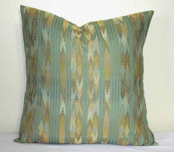 Seafoam Green Striped Flame Stitch 18 inch Decorative Pillows
