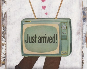Mixed Media, Original Collage Art on Wood ( ready to hang, OOAK, unique retro home decor ) -- Your Television Loves You