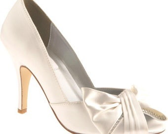 "Wedding Shoes- 3"" heels-Peep Toe Large Bow- 250 Custom Colors- Bridal Shoes"