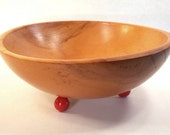 Munising Footed Wood Bowl, Red ball feet, Handcrafted, Primitive, Art Deco, Kitsch, circa 1940s