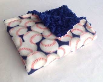 Baseball Baby Blanket with Blue Minky Swirl - Baseball Blanket - Baby Boy Baseball Blanket - Minky Baby Blanket - Baseball Minky Blanket