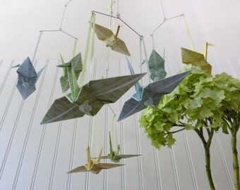 HAMAKO - Mobile or Garland- Soft Green Yellow Blue Neutral Origami Cranes