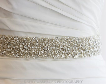 "Best Seller Luxury Bridal pearl crystal sash, 22"" long x 2"" wide crystal bridal belt, beaded wedding belt - KATE DELUX"