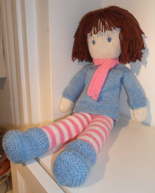 Rag Knitting Patterns : Rag Doll Knitting Pattern pdf Instant Download