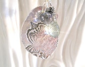 Peaceful Faded Lotus Silver Pendant Wire Wrapped Gemstones, Mehndi Yoga Style