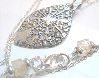Victorian Style Embossed Silver Lotus Petal Necklace