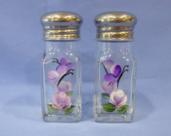 Hand Painted Salt and Pepper Shakers Pink Rose Rosebud Purple Butterfly