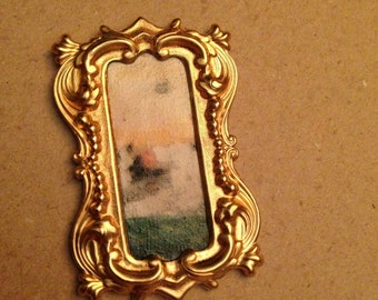 OOAK boat on the water tiny painting in brass Frame - Dollhouse Size