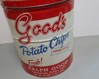 Vintage Large Good's Potato Chips Advertising Canister