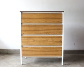 RESERVED Simmons Steel Frame Mid Century Modern Bleached Rosewood Formica Dresser After George Nelson