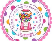 Gumballs Galore In Pink Personalized Stickers - Party Favor Labels, Address Labels, Birthday Stickers, Bubblegum - Wide Polka Dot Border