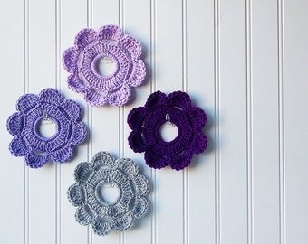 Decorative Crochet Mini Wreath Wall Hangings & Picture Frames - Muted Lavender Hues
