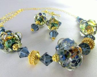 22k Gold Vermeil Lampwork Necklace and Earring Set in Denim Blue Sapphire Swarovski
