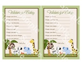 """Printable """"Jungle Buddies/Animal Friends/Safari Pals"""" Wishes for Baby Cards Instant Digital Download"""