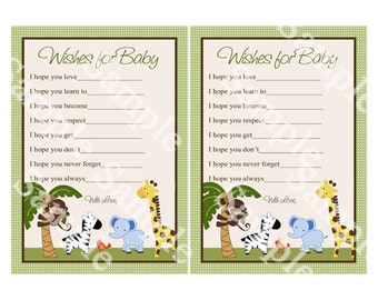 Printable Jungle Buddies Animal Friends Safari Pals Wishes for Baby Shower Instant Digital Download