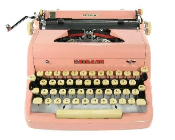 RESERVED / 1956 Pink Royal Quiet DeLuxe Typewriter / Original Case / Vintage Metal Ribbon Spools / Working Typewriter