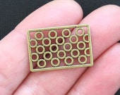 6 Rectangle Charm  Connectors Antique Bronze Tone with Abstract Design - BC842