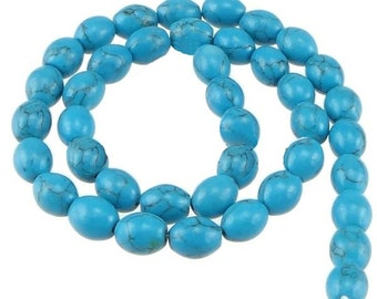 Natural Turquoise Oval Gemstone Beads 1 Strand - BD468