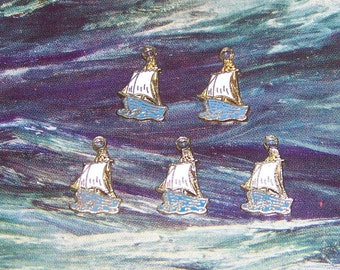 Lot of 5 Tiny Metal Sail Boat Charms