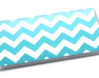 Checkbook Cover Blue Chevron