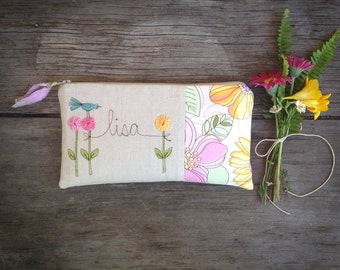 Baby Shower Hostess Gift, Personalized Thank You Gift, Pink Floral Clutch, Custom Made Stitchery MADE TO ORDER by MamaBleuDesigns