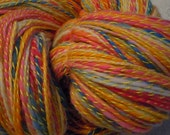 Butter Mints,  Merino Variegated Roving Plied with Yellow Pearl Cotton