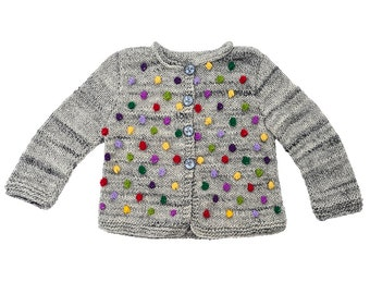 Baby toddler Girls sweater jacket knitted popcorn cardigan grey wool Winter warm Red Purple Bobbles 0-3-6-9-12-18-24 months 2T 3T 4T 5 6