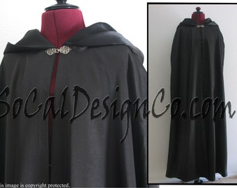 Black Full Length Hooded Cloak  with Full Lining