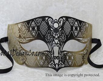 Mens Mask, Masquerade Mask, Gold Mask, Venetian Mask, Metal Mask, Filigree Mask, Prom Mask, Mardi Gras Mask, Party Mask, Halloween Mask