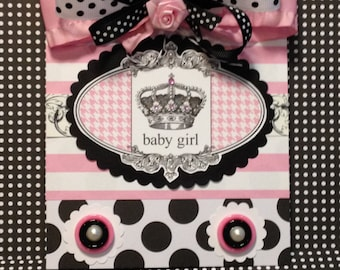 Baby Girl Card, Welcome Baby Card, Handmade, Embellished Card