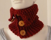 Womens Red Cowl, Knit Cowl, Cowl with Buttons, Chunky Cowl, Winter Cowl