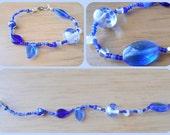 Blue glass beaded bracelet   -  Peace Stitch Studio