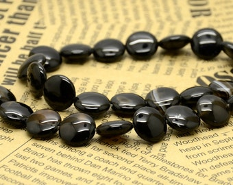 12mm  coin black Agate nugget beads,stone beads,gemstone beads loose strand