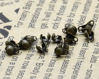 50 pcs of Antique brass  bead tips for 2.4mm ball chain Connectors Clasps