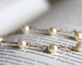 Saltwater pearl bracelet in 14K gold filled